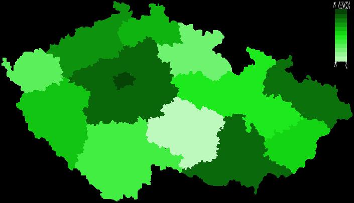 Mapa rozdělení podle počtu pohanů v příslušných krajích