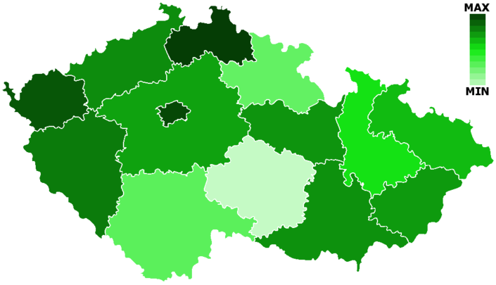 Mapa rozdělení podle procent pohanů na všechny obyvatele v příslušných krajích